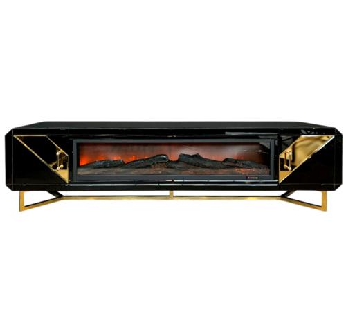 L&M  TV-meubel Ashwie Spiegel Glas - Goud - incl. Sfeerhaard
