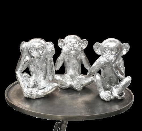 L&M Decoratie Figuur Apen - Zilver Kleurig  set van 3