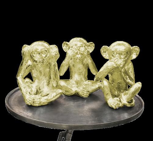 L&M Decoratie Figuur Apen - Goud Kleurig set van 3