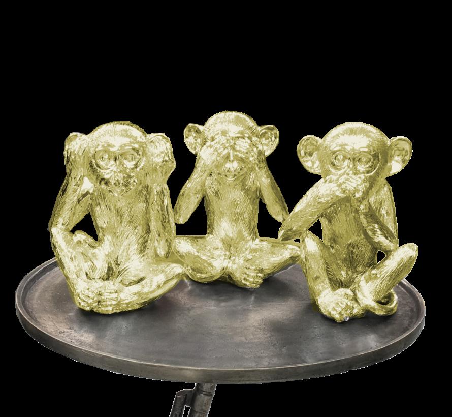 Decoratie Figuur Apen - Goud Kleurig set van 3