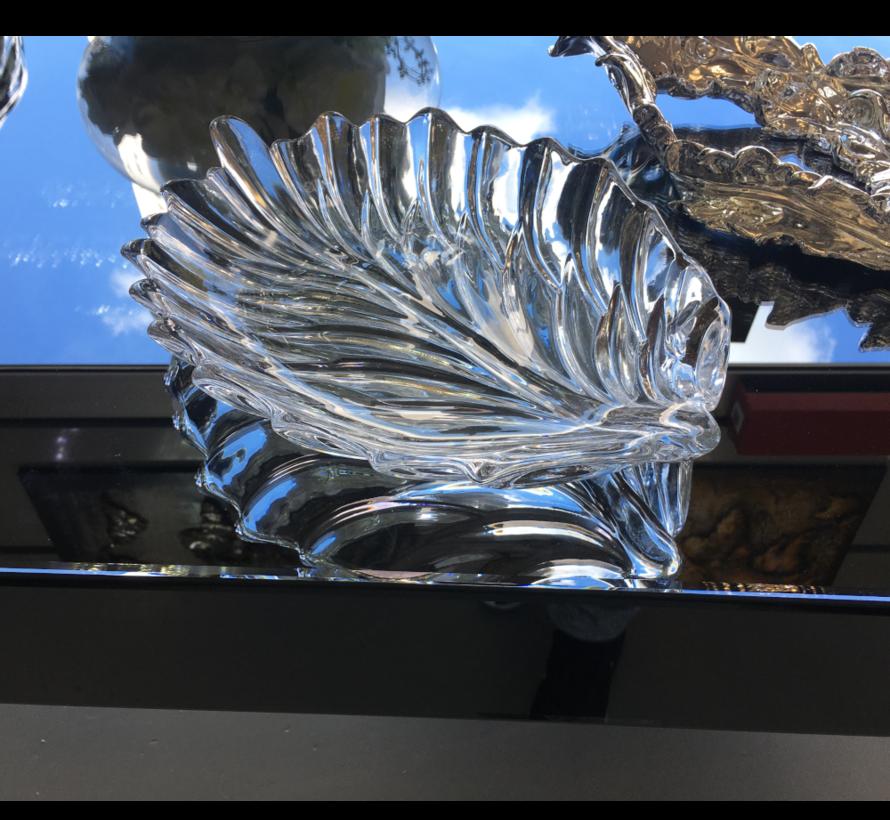 Pauw met Glazen Schaal Zilver