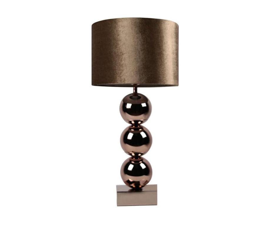 Bollamp - Brede Bollen - Brons - Tafellamp - 3 Bollen - vierkante voet