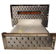 L&M Boxspring Dubai Metallic Grey - inclusief sfeerhaard
