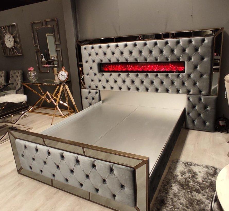 Boxspring Dubai Metallic Grey - inclusief sfeerhaard