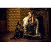 Ter Halle Dog Women-Glasschilderij-160x110