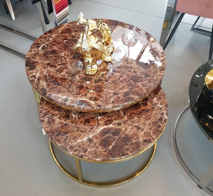 Doblo Salontafel -  Set van 2 - Brown Marmer