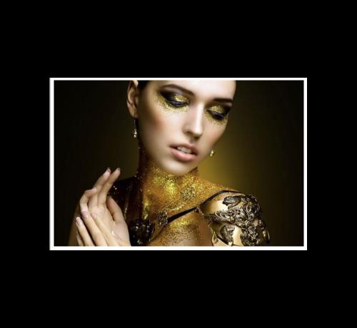 Ter Halle Glasschilderij-Golden Women 80x120