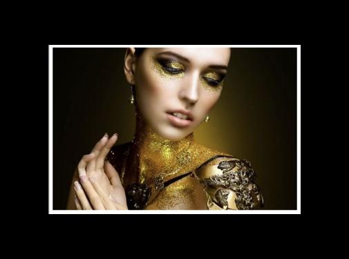 Ter Halle Glasschilderij-Golden Women