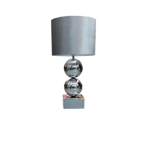 Erik Kuster Style Bollamp - Big Bolls - Chroom - Tafellamp - 2 Bollen - vierkante voet