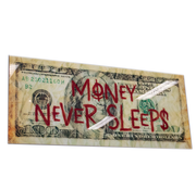 L&M Money never sleep - Art Glasschilderij