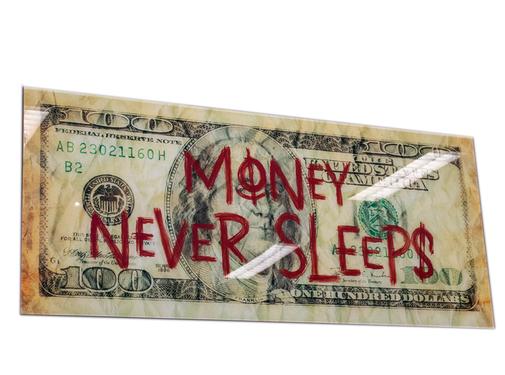 L&M Money never sleep - Art Glasschilderij