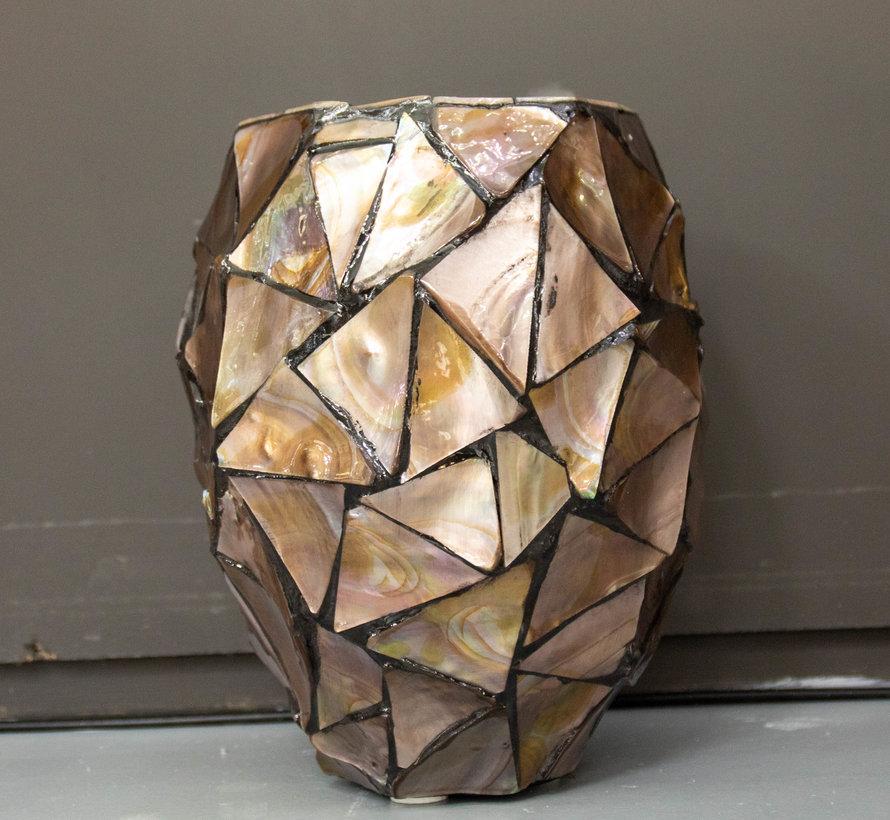 Pot Mother of Pearl H24 D17-Schelpenvaas -Wit