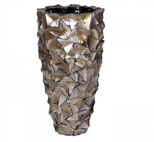 Lampen en Meer Pot Mother of Pearl D40 H77 - Bruin - Schelpenvaas Eric Kuster style