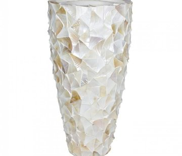 Eric Kuster Stijl Pot Mother of Pearl  - Creme - Schelpenvaas