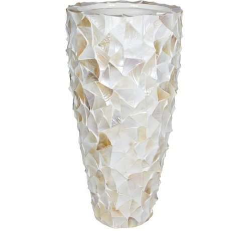 Eric Kuster Stijl Pot Mother of Pearl  - Creme - Schelpenvaas Eric Kuster style