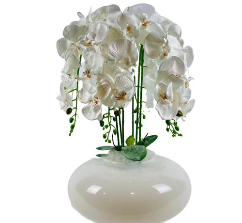 L&M Kunstplant Orchidee Wit (XL)- in pot - Wit