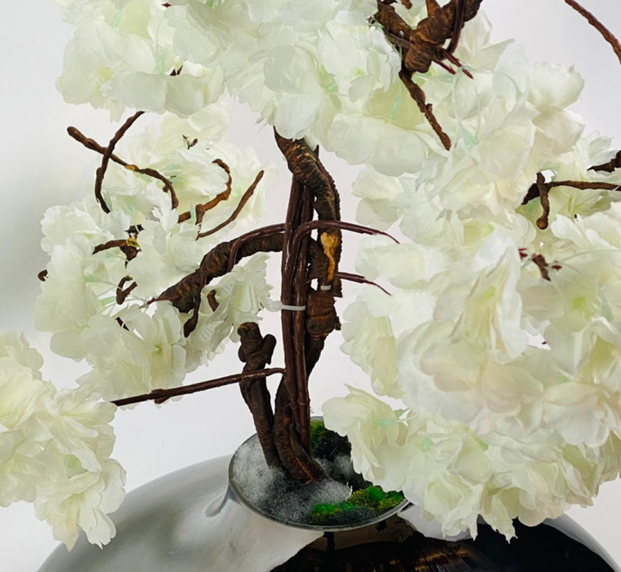 Kunstplant Wit Bloesem - in glazen pot - Smoke kleur
