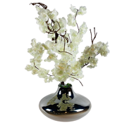 L&M Kunstplant Wit Bloesem - in glazen pot - Smoke kleur