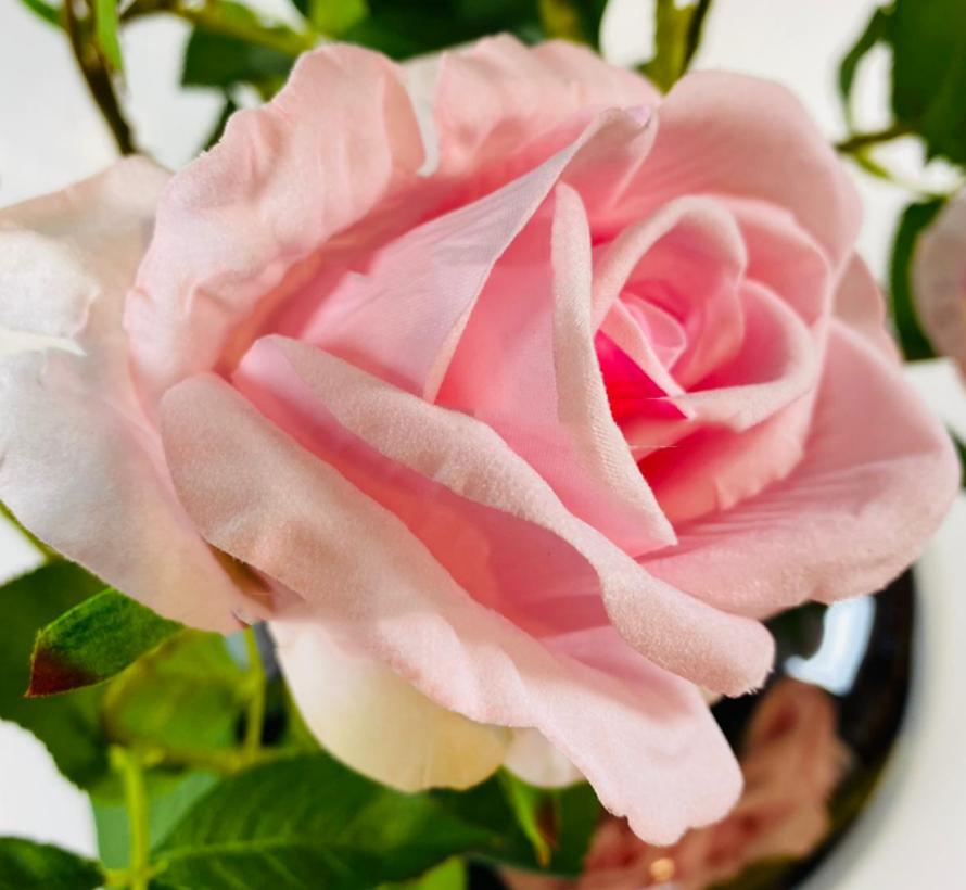 Kunstrozen - Roze - in glazen pot getint