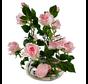 Kunstrozen - Roze - in Transparant pot