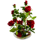 Kunstrozen - Rood - in Transparant pot