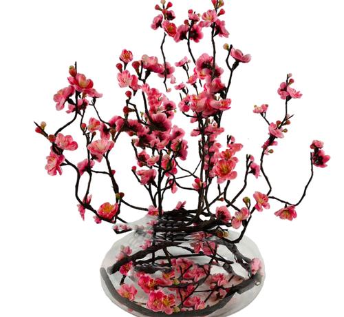 L&M Appelbloesem Roze Kunstplant - Transparant pot