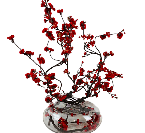 L&M Appelbloesem Donkerrood Kunstplant - Transparant pot