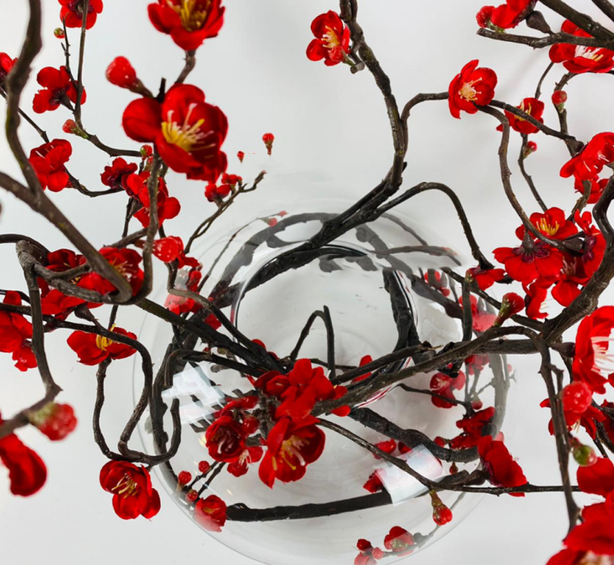 Appelbloesem Donkerrood Kunstplant - Transparant pot