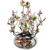 L&M Appelbloesem Roze/Wit Kunstplant - Transparant pot