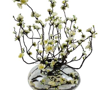 L&M Appelbloesem Wit/Geel Kunstplant - Transparant pot