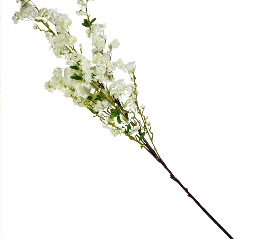 Bloesem kunsttak XL Wit/Geel 110 cm