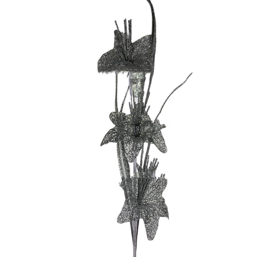 Kunsttak Lelie - Glitter - Zilver