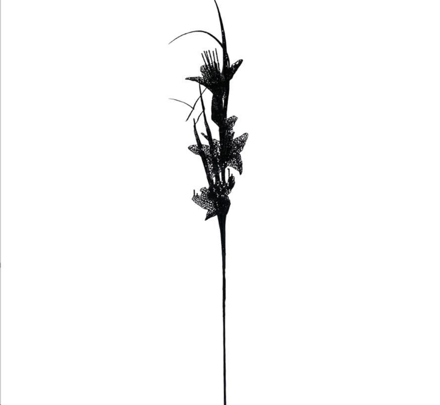 Kunsttak Lelie - Glitter - Zwart