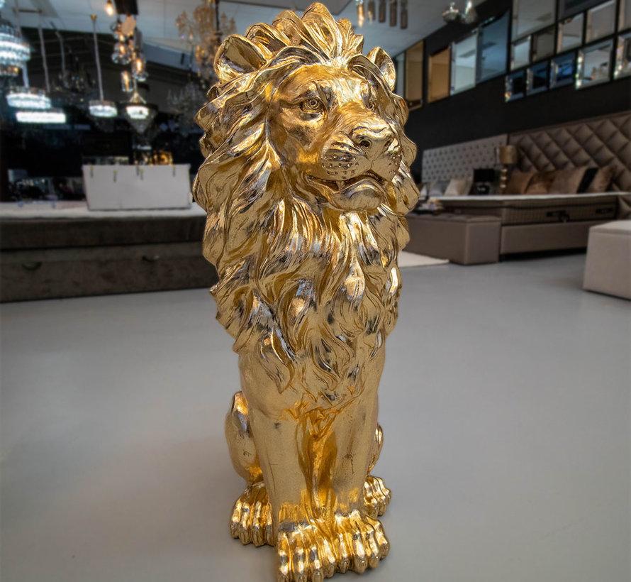 Groot Zittende Leeuwen Beeld - Goud