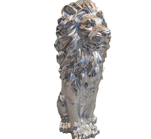Eric Kuster Style Groot Zittende Leeuwen Beeld - Zilver