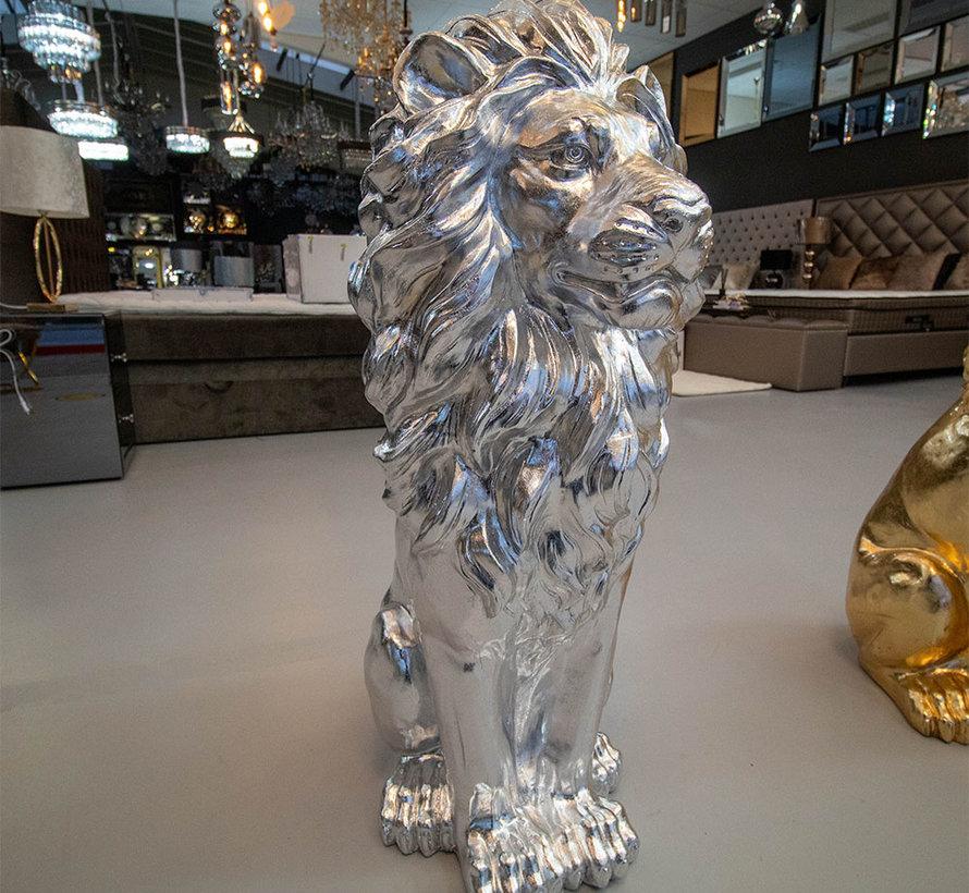 Groot Zittende Leeuwen Beeld - Zilver