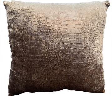 L&M Velvet Croco Print Kussens - Bronze