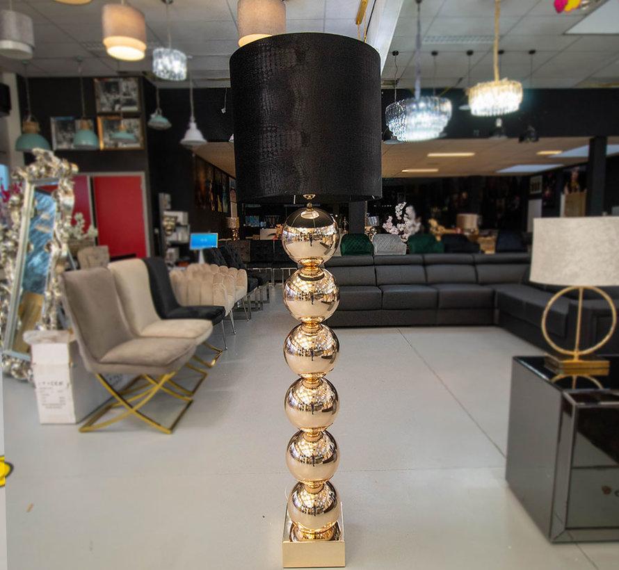 Goude 6 Bollamp Met Zwarte Croco Kap