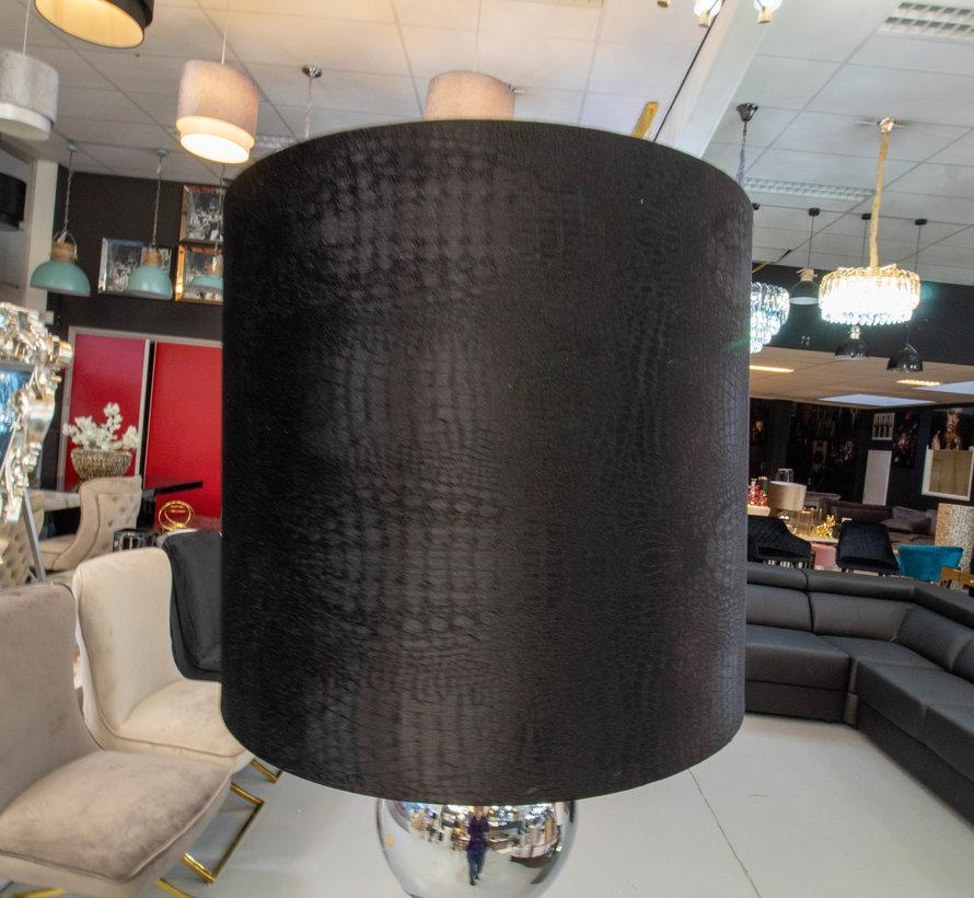 Zilvere 6 Bollamp Met Zwarte Croco Kap