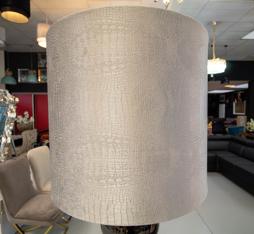 Zwarte 6 Bollamp Met Zilvere Croco Kap