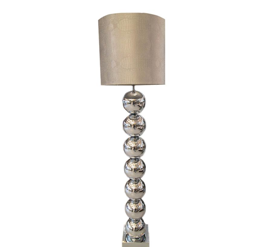 Zilvere 7 Bollamp Met Zilvere Croco Kap