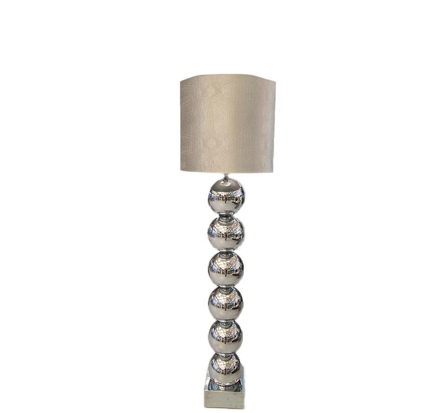 Zilvere 6 Bollamp Met Zilvere Croco Kap
