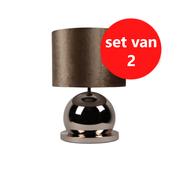 Eric Kuster Style Bollamp - Brons - Tafellamp - 1 Bol - Ronde Voet - Set van 2