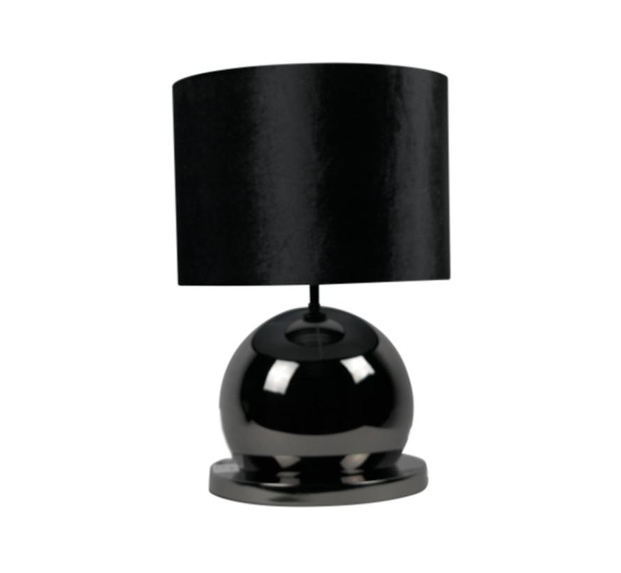 Bollamp - Antraciet - Tafellamp - 1 Bol - Ronde Voet - Set van 2