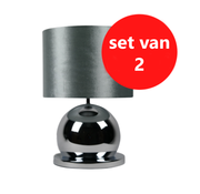 Eric Kuster Style Bollamp - Zilver - Tafellamp - 1 Bol - Ronde Voet - Set van 2
