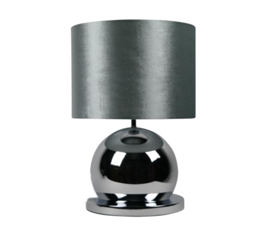 Bollamp - Zilver - Tafellamp - 1 Bol - Ronde Voet - Set van 2