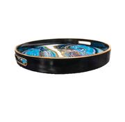 L&M Dienblad Rond - Zwart Met Blauw Zwart Marbel