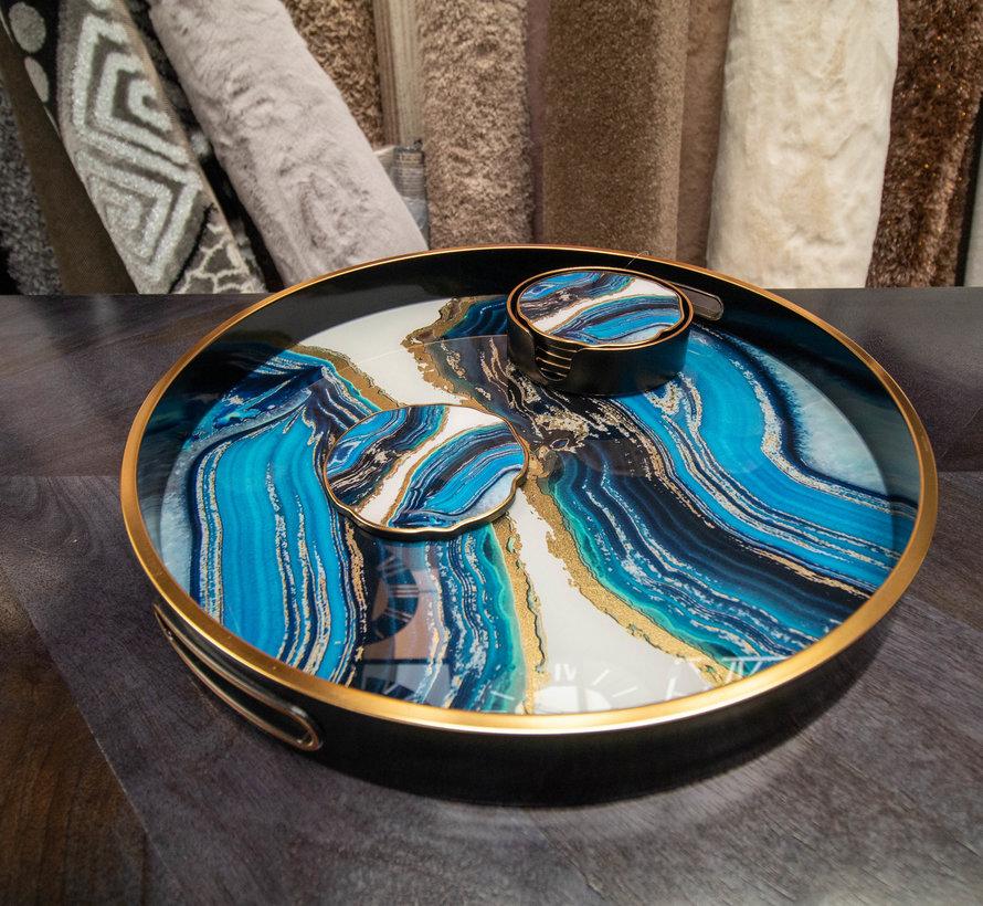 Dienblad Rond - Zwart Met Blauw Zwart Marbel