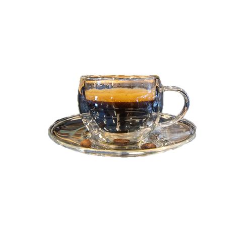 Bricard Dubbelwandige Glazen Espressoset - 4 delig