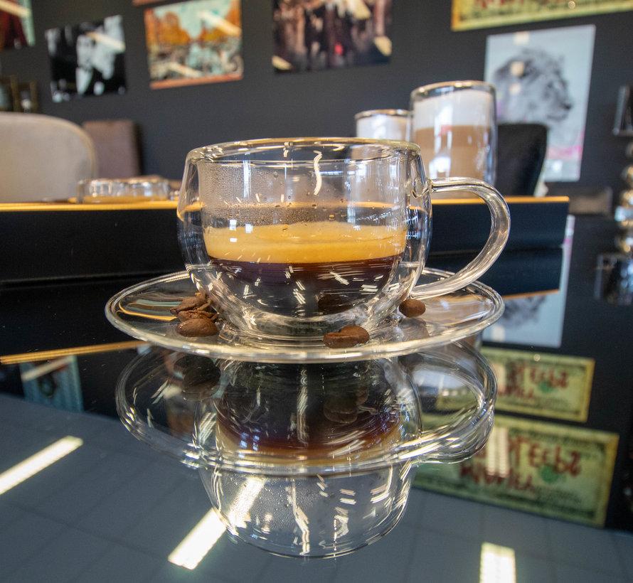 Dubbelwandige Glazen Koffieset - 4 delig